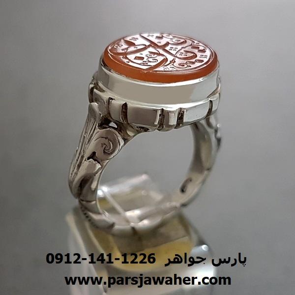 انگشتر عقیق رکاب نقره دست ساز مردانه 7044