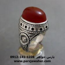 انگشتر قدیمی عقیق یمنی قلم زنی a287
