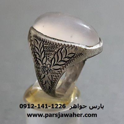 انگشتر قدیمی عقیق سفید تراش ثبتی a288