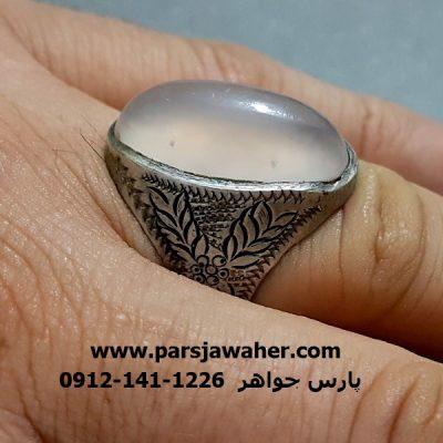 انگشتر عقیق سفید یمنی a288