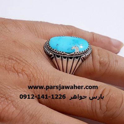 انگشتر فیروزه مردانه نقره دست ساز 210