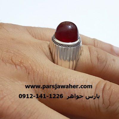 انگشتر عالی عقیق رکاب مردانه نقره f306