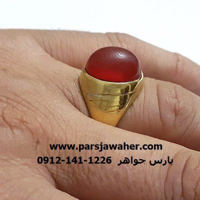 انگشتر عقیق یمنی سرخ تراش قدیمی f311