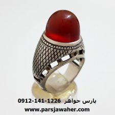 انگشتر مردانه عقيق سرخ یمنی f314