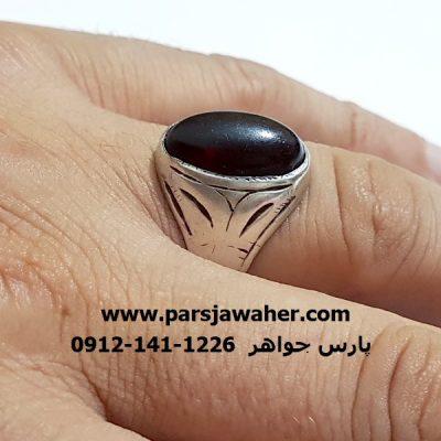 انگشتر قدیمی جزع رکاب دست ساز نقره مردانه f319