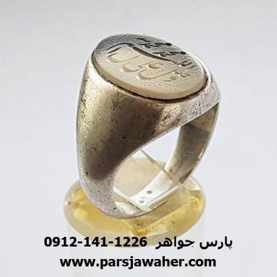 انگشتر قدیمی عقیق سفید یمنی 7053