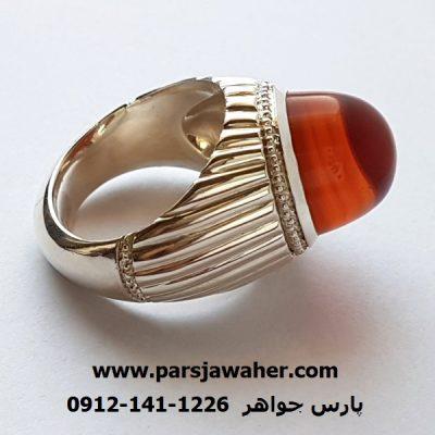 انگشتر مردانه عقیق پرتقالی کلاهدار f321