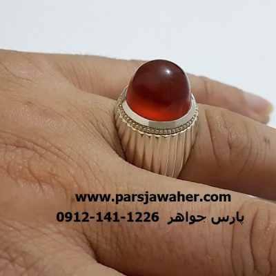 انگشتر مردانه عقیق نقره دست ساز f321