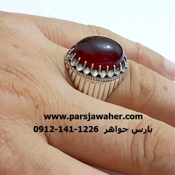 انگشتر عقیق مردانه نقره دست ساز f324