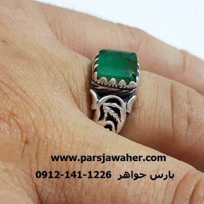 انگشتر نقره مردانه زمرد دست ساز 332