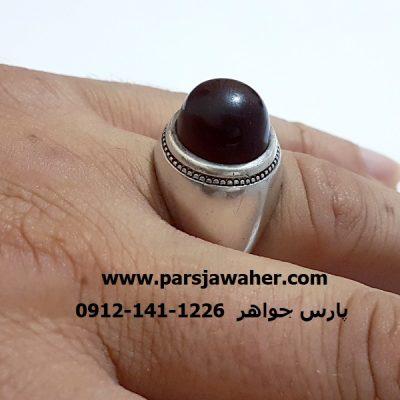 انگشتر مردانه سرخ تیره یمنی f334