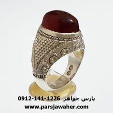 انگشتر عقیق سرخ تیره یمن f339