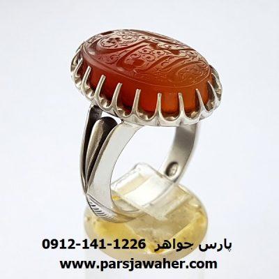 انگشتر عقیق یمنی خطی 7058