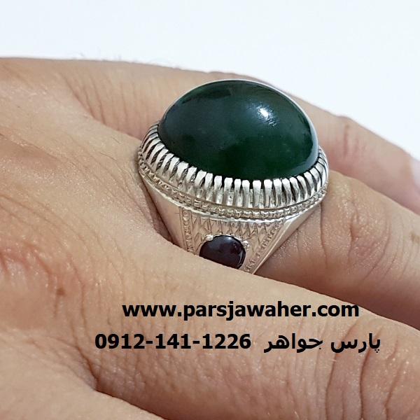 انگشتر یشم سبز مردانه 7060