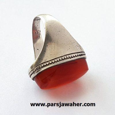 انگشتر مردانه عقیق نقره دست ساز f348