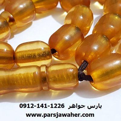 تسبیح سندلوس رنگ زرد عسلی تراش کپسولی 220