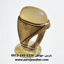 انگشتر برنجی عقیق یمنی مردانه قدیمی a335