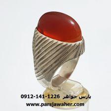 انگشتر مردانه عقیق تراش ثبتی یمنی f374