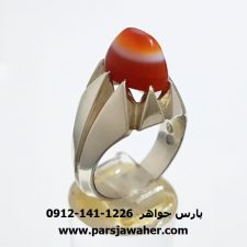 انگشتر عقیق سه پوست یمنی f379