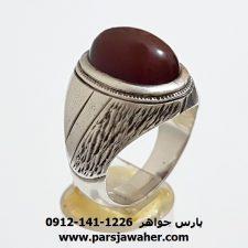 انگشتر قدیمی عقیق سرخ تیره یمن a343