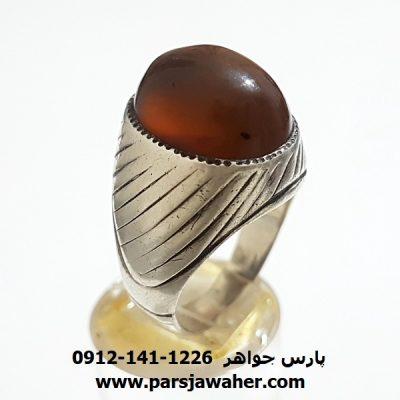 انگشتر قدیمی جزع یمانی تراش ثبتی a348