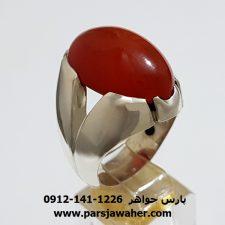 انگشتر مردانه عقیق سرخ یمنی f394