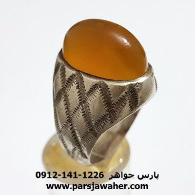 انگشتر قدیم عقیق زرد یمنی a350