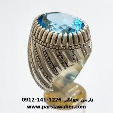 انگشتر نقره توپاز آبی مردانه 315