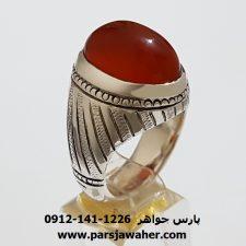 انگشتر مردانه عقیق تراش دار یمنی f403