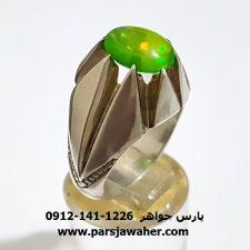 انگشتر اوپال سبز دست ساز مردانه 317