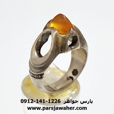 انگشتر عقیق زرد یمنی مهره a221