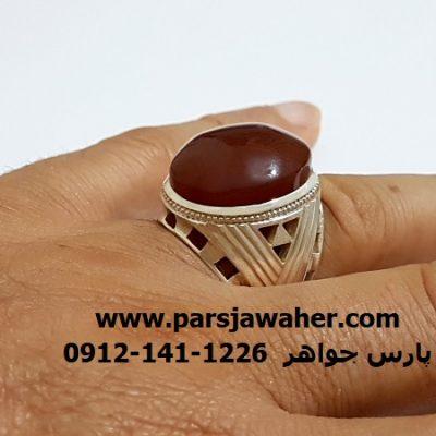 انگشتر جزع مردانه یمانی اصل انس f412