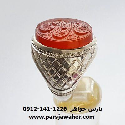انگشتر مردانه نقره عقیق خطی 7014