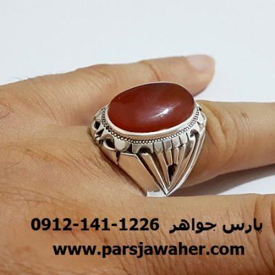 انگشتر عقيق مردانه دست ساز نقره a293