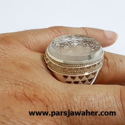 انگشتر مردانه خطی رکاب نقره دست ساز 7079