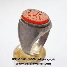 انگشتر قدیمی عقیق یمنی خطی f419