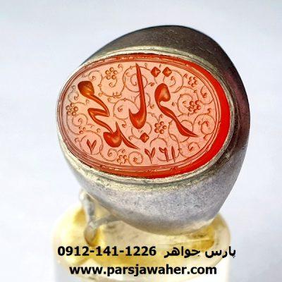 انگشتر عقیق خطی حکاکی دستی قاجاری f419