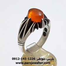 انگشتر عقیق پرتقالی یمنی خطی 7083