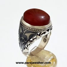 انگشتر عقیق کبدی یمنی a371