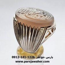 انگشتر عقیق سفید یمنی خطی f424
