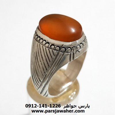 انگشتر عقیق چرب یمنی a374