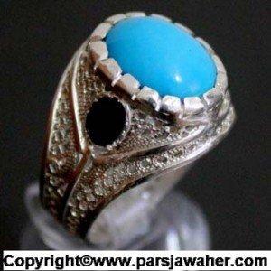 انگشتر ملیله زیبا با نگین فیروزه مصری