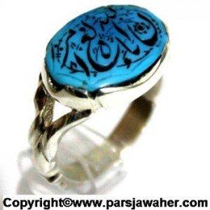 انگشتر فیروزه با حکاکی زیبا و رکاب نقره