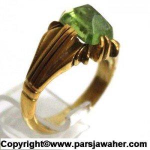 انگشتر زنانه زبرجد با رکاب نقره و آبکاری طلا