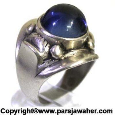 انگشتر نقره مردانه یاقوت کبود 1042