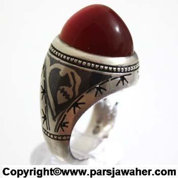 انگشتر عقیق یمنی سیاه قلم 1026