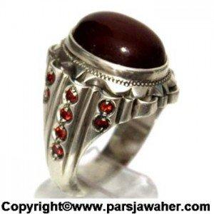 انگشتر نقره مردانه زیبا با سنگ عقیق سرخ