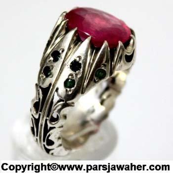 انگشتر نقره یاقوت سرخ 10118