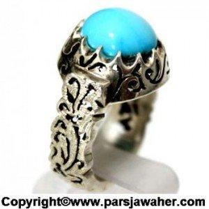 انگشتر فیروزه نیشابور با رکاب مشبک زیبا