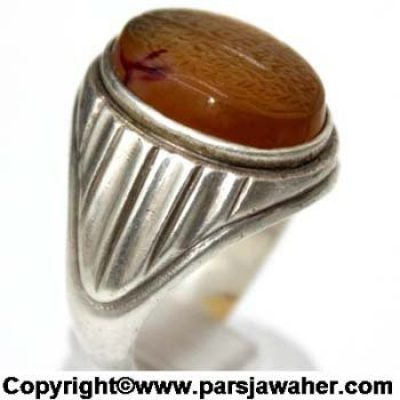 Engraved Yellow Yemeni Agate Ancient Ring 2310